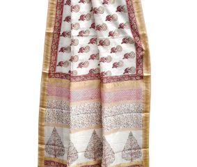 White Maroon Floral Block Print Saree With Golden Border And Blouse Piece