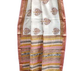 White Tree Motifs Chanderi Saree With Pink Border With Blouse Piece