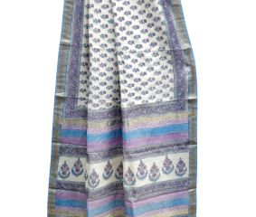 White Chanderi Block Print Small Floral Motifs In Blue And Purple With Blouse Piece