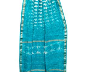 Blue Abstract Print Chanderi Block Print Saree With Silver Blue Border With Blouse Piece
