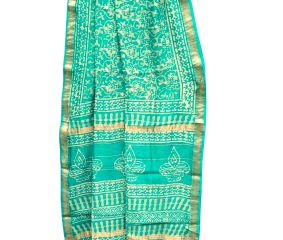 Turquoise Blue With Block Print Design And Diya On Pallu Chanderi Saree With Blouse Piece