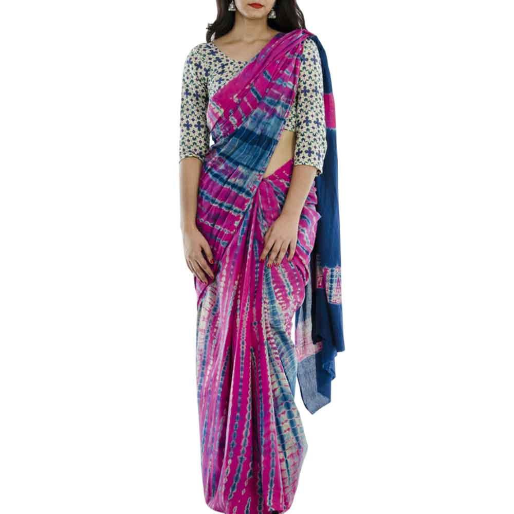 Pink Blue Cotton Batik Print Saree
