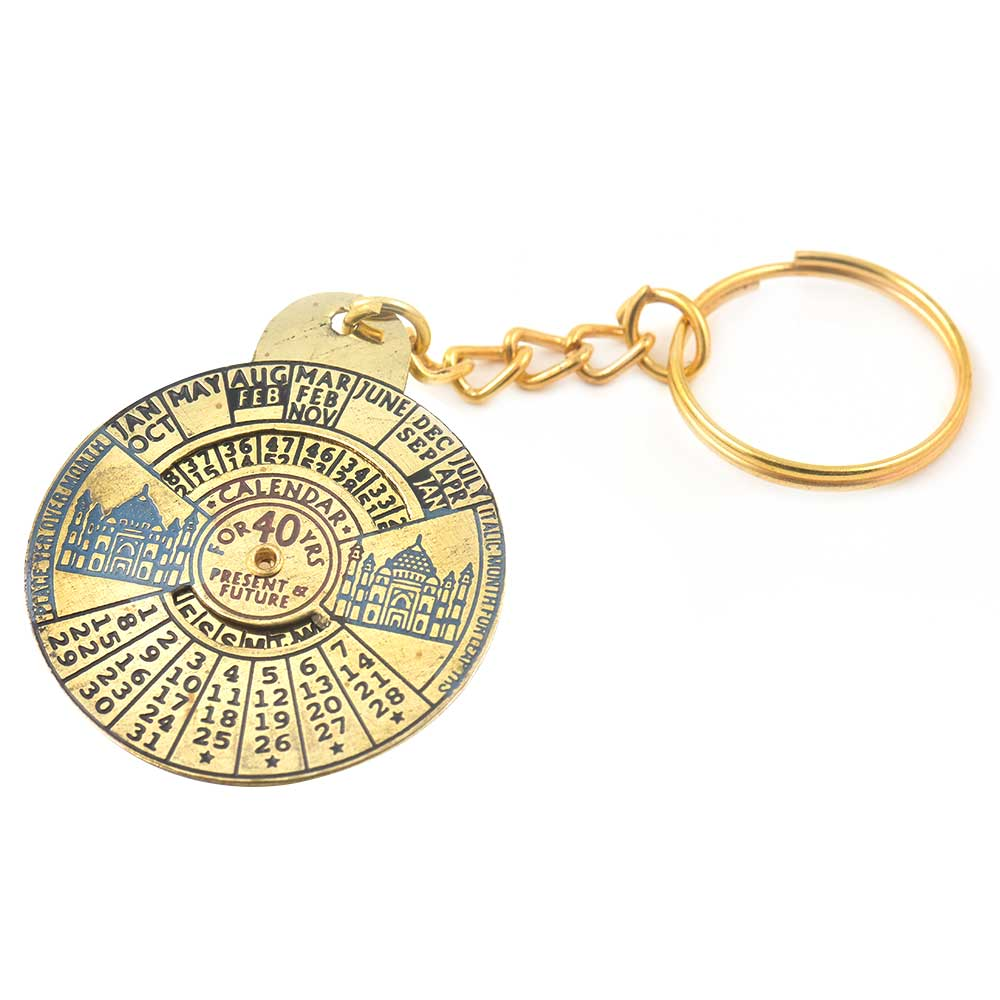 Ancient Tajmahal Brass Metal 50 Years Perpetual Calendar Keyring