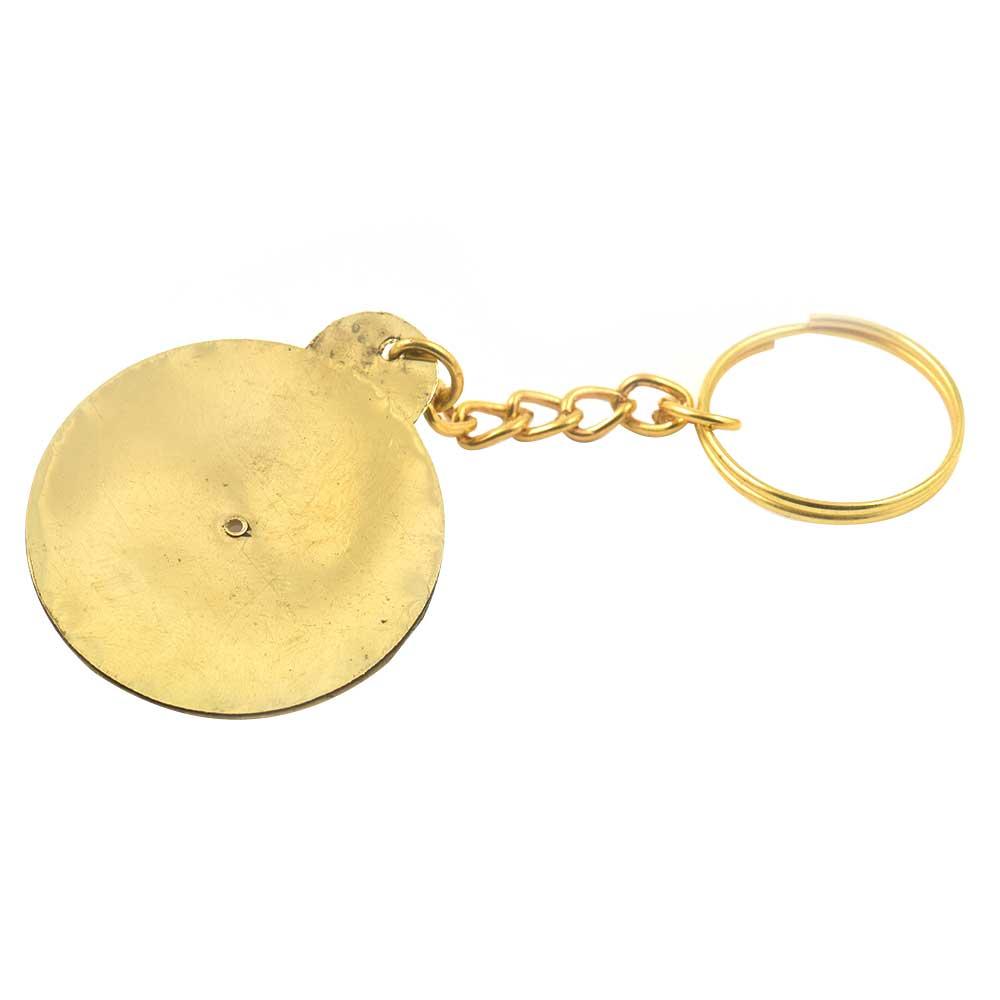 Big Flower Vintage 40 Years Calender Brass Keychain