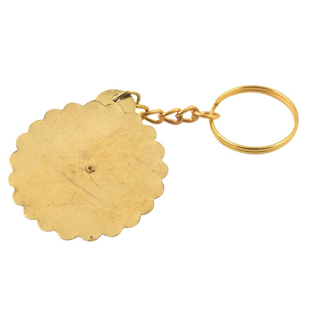 HandmadeTaj Mahal Scalloped Brass 40 Years Calender Keychain