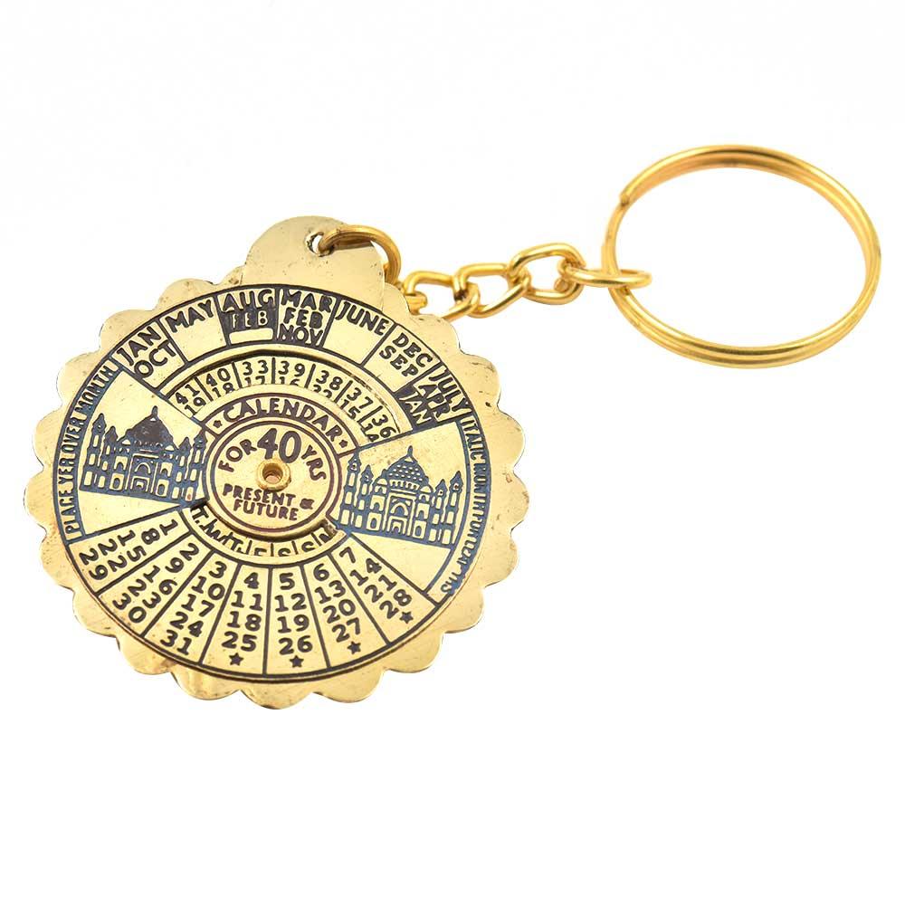 Brass Metal Perpetual Calendar Keychain With Taj Mahal