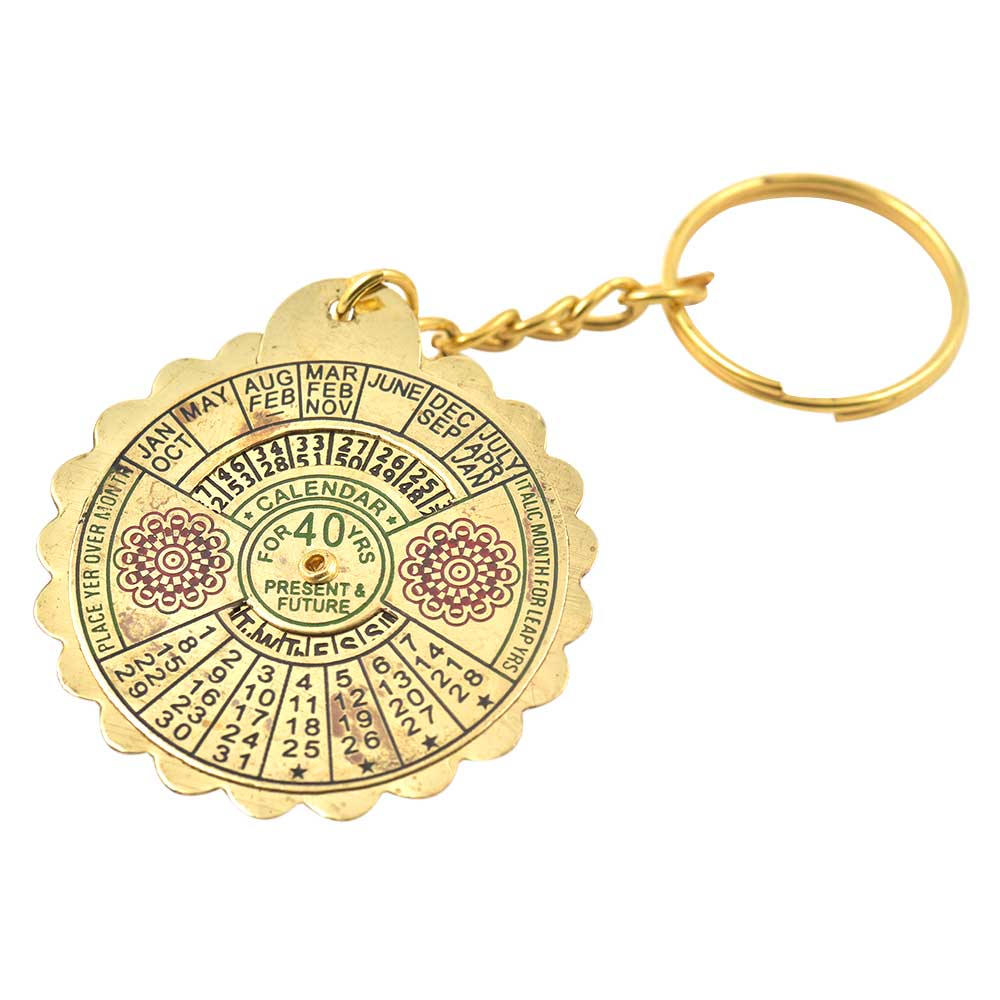 40 Year Calendar Brass Keychain With Big Flower Design And Scalloped Edges
