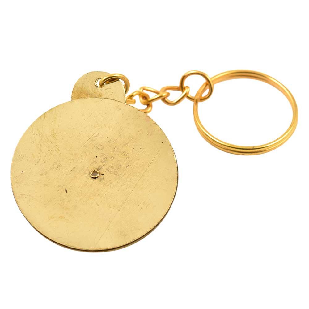 Big Flower Keychain Brass Vintage Look 40 Years Calendar