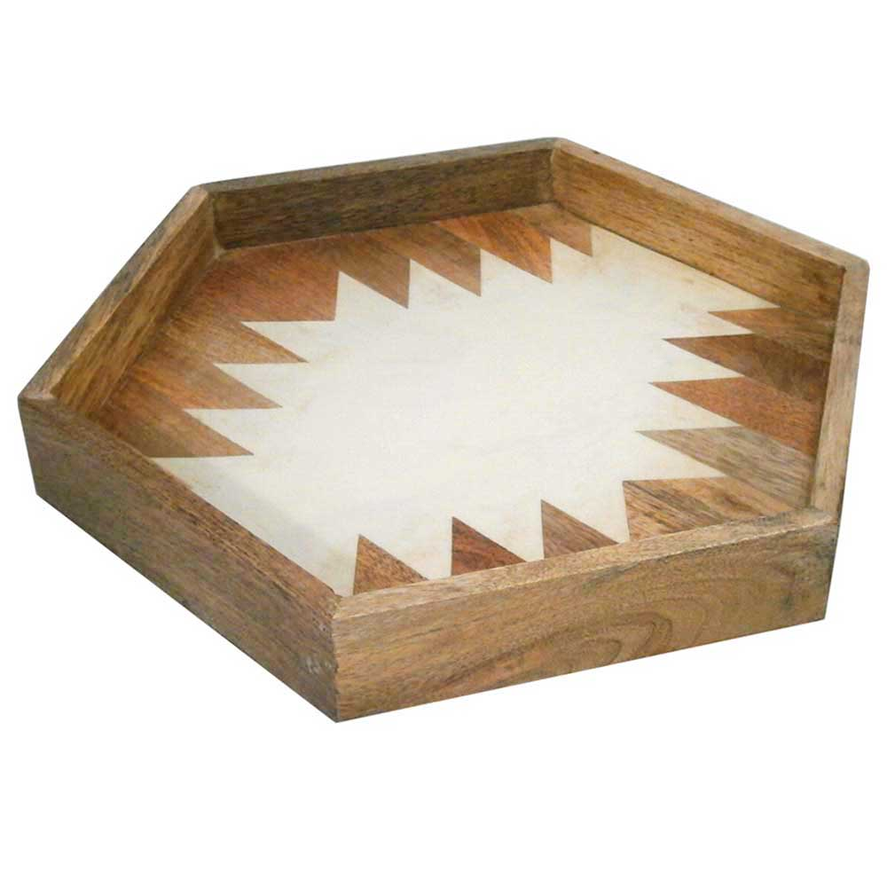 Wooden Hexa Tray With Camicle Designe