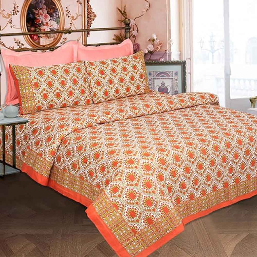 White Base White Orange Border Orange Flower Double Bedsheet with Two Pillow Cover