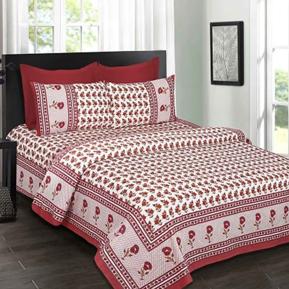 White Base Red Floral Border Red Flower Double Bedsheet with Two Pillow Cover