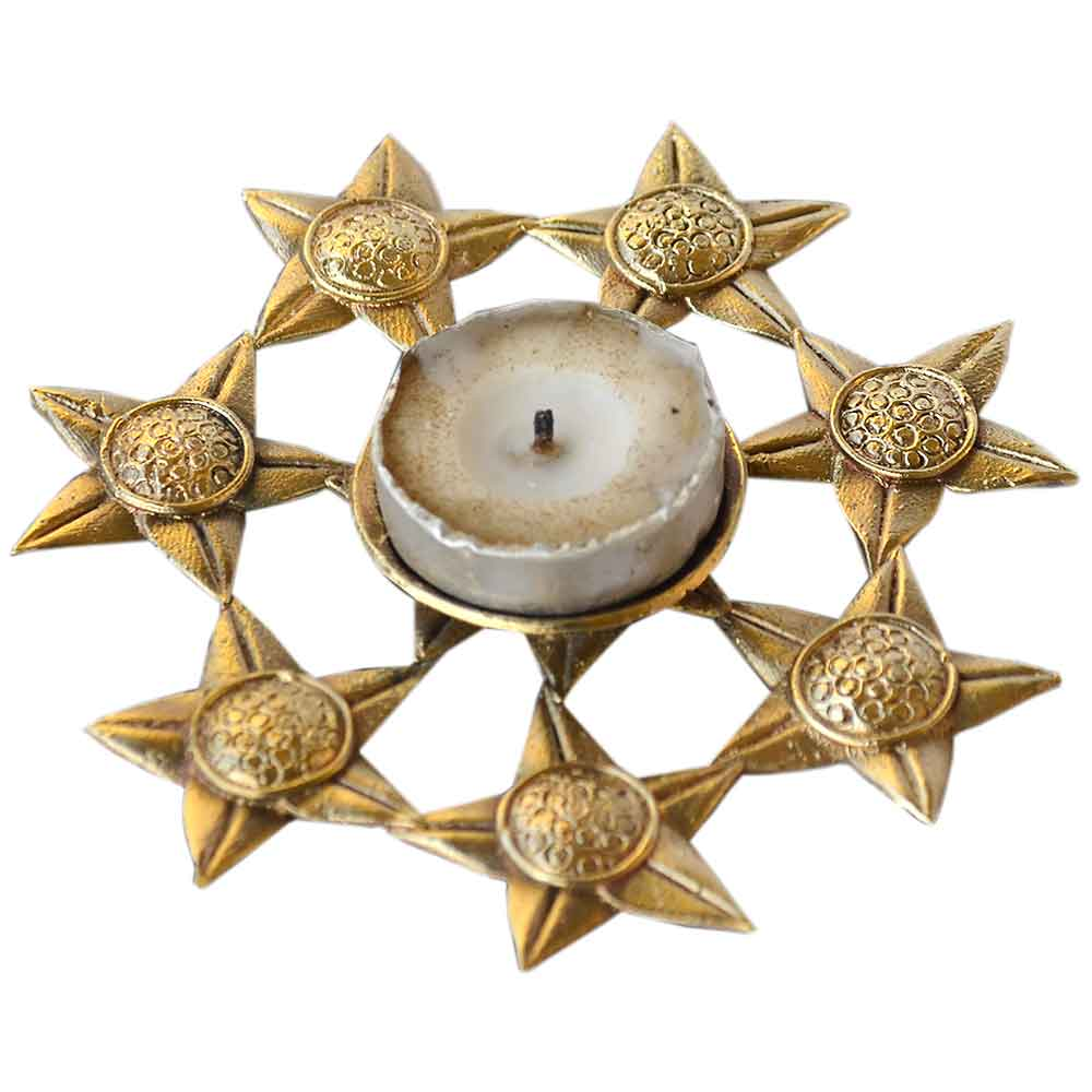 Dhokra Floral Candle Stand