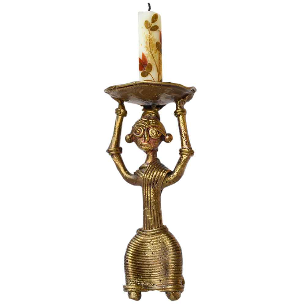 Dhokra Half Sitting Tribal Lady Candle Stand