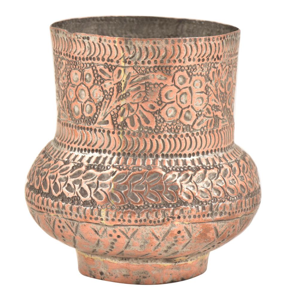 Kashmiri Copper Vase�With Fine Floral Design and Unusual Design