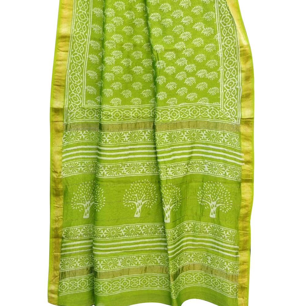 Green Chanderi Block Print Saree Floral Design Pattern And Golden Border With Blouse Piece