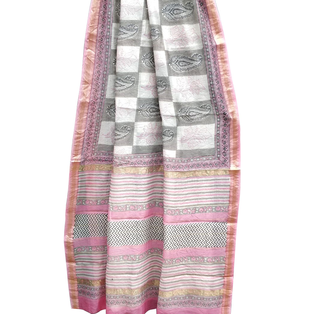 Checks And Geometric Chanderi Block Print Saree In Grey And Pink With Golden Pink Border