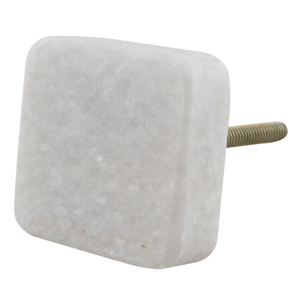 White Stone Square Cabinet Knobs Online