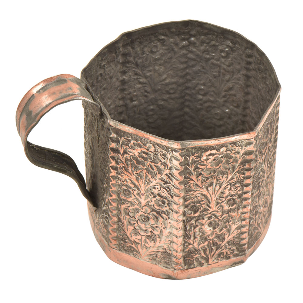 Handcrafted Floral  Repousse Cup Mug�With Handle