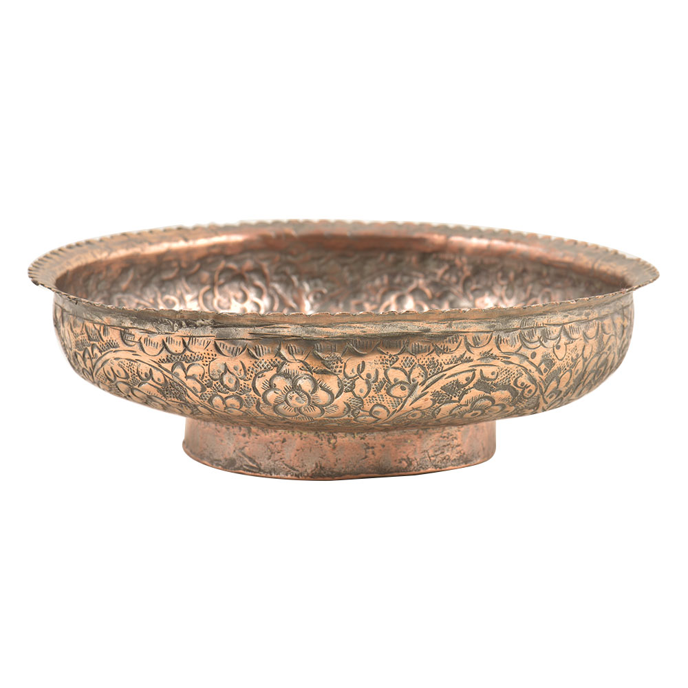 Vintage Hand Engraved Muhgal Floral Copper Bowl with Scalloped Rim