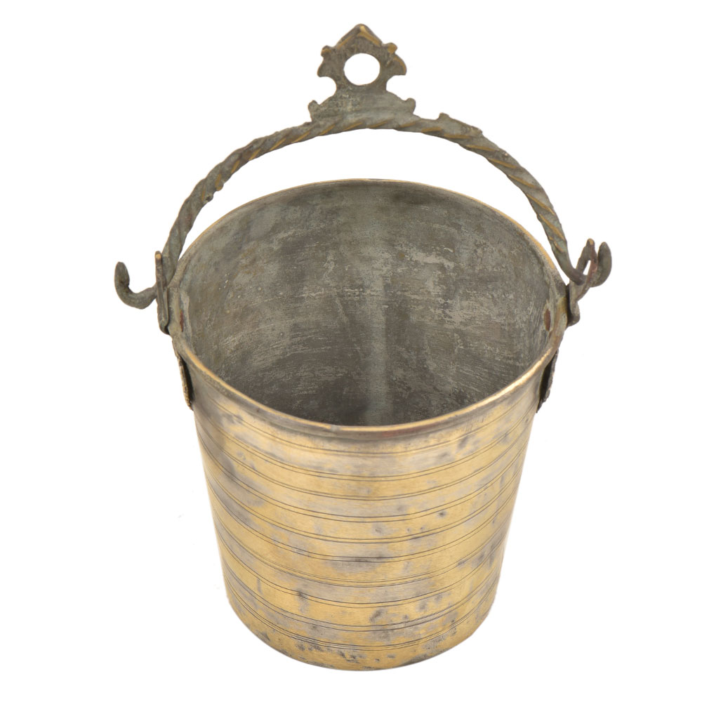 Brass Bucket Horizontal lines With Decorative Handle