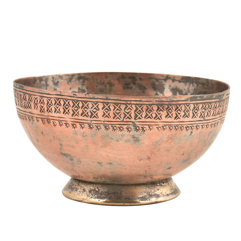 Vintage Hand Hammered Starry Sun Border Designed Bowl