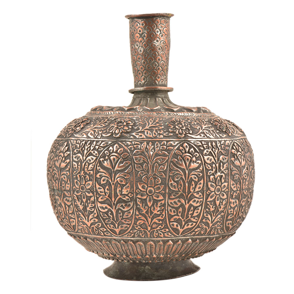 Hand Crafted Copper Repousse Floral Surahi Or Pot