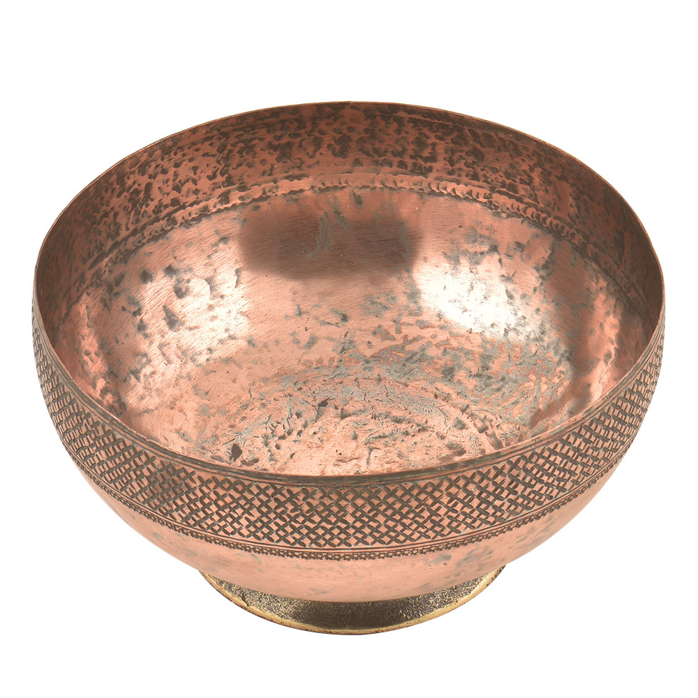 Hand Engraved Cross Pattern on  the Rim Of the Copper Bowl