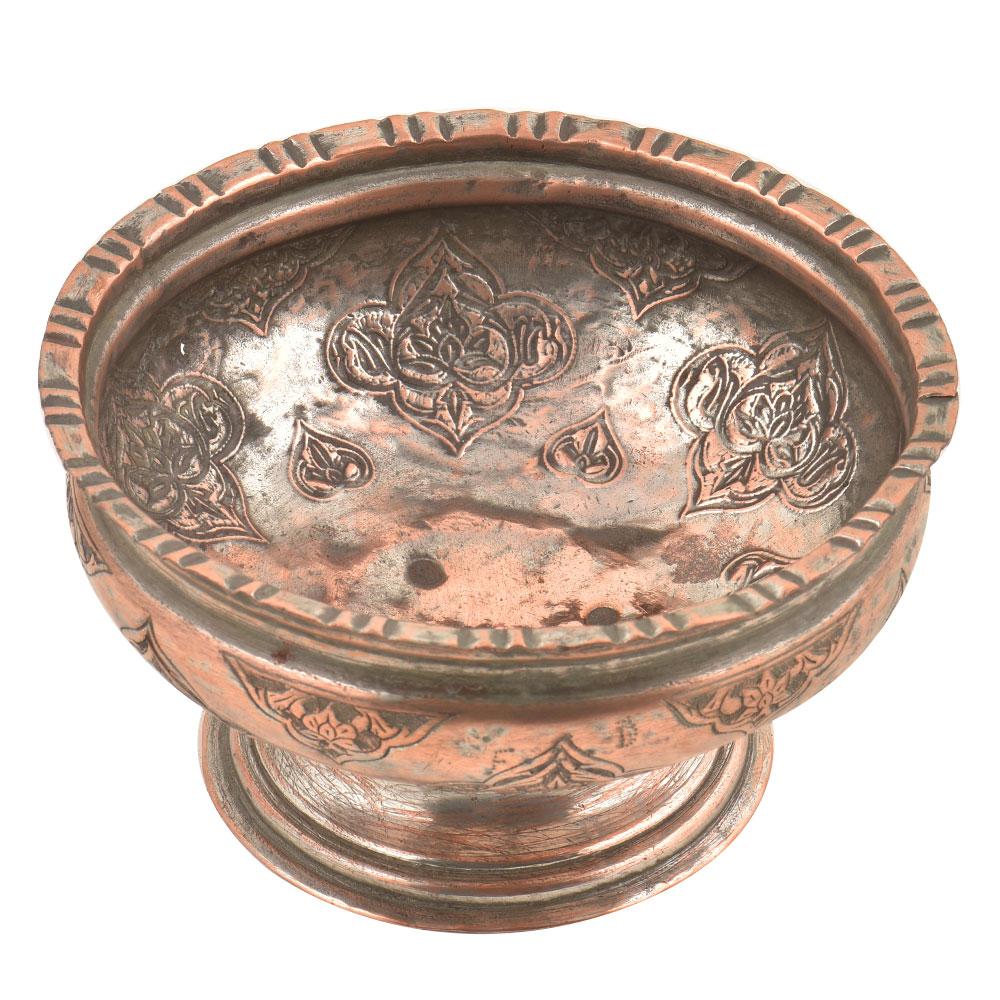 Engraved Floral Leafy Pattern Pedestal Copper Bowl Or Vase