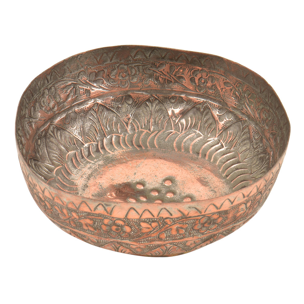 Etched Hand Egraved Floral Design Copper Bowl
