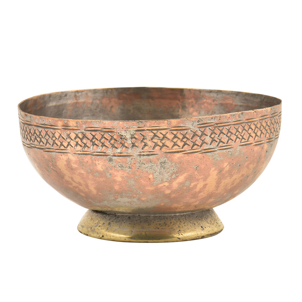 Vintage Engraved Cross Pattern on  the Rim Of the Copper Bowl