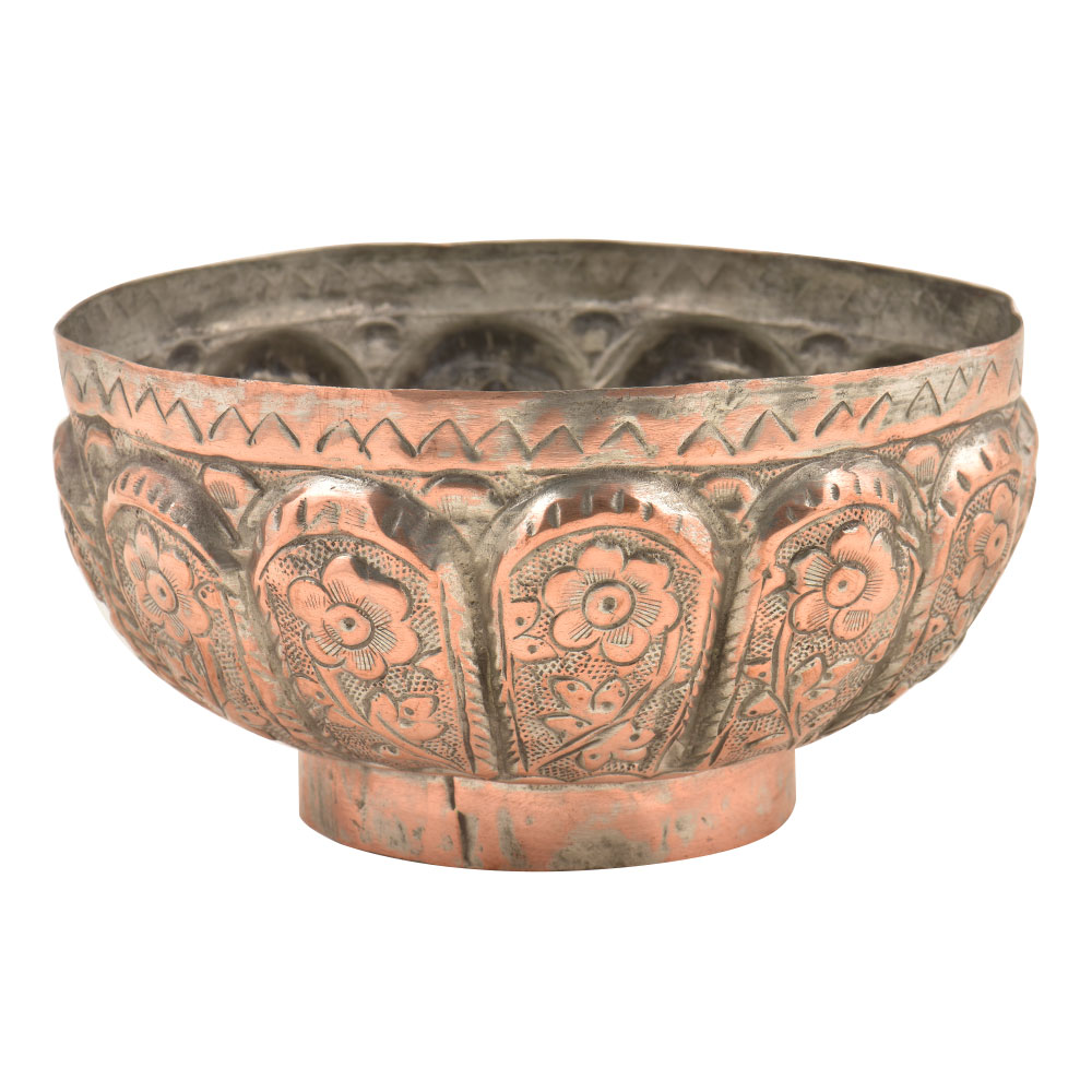 Embossed  Floral Leafy Pattern Pedestal Copper Bowl
