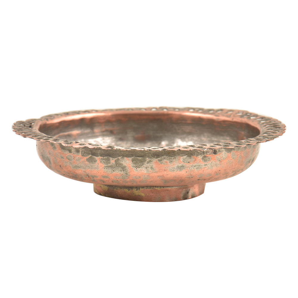Vintage Copper Bowl With Scalloped Edges