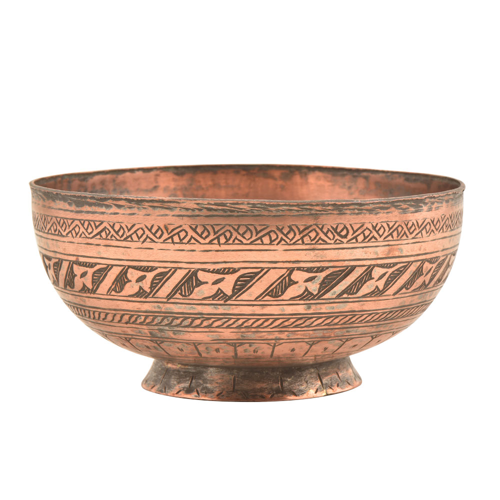 Vintage Copper Bowl With Delicate Pattern