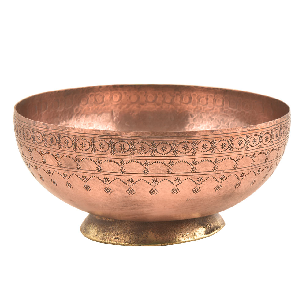 Vintage Copper Bowl With Dotted Pattern Engraving