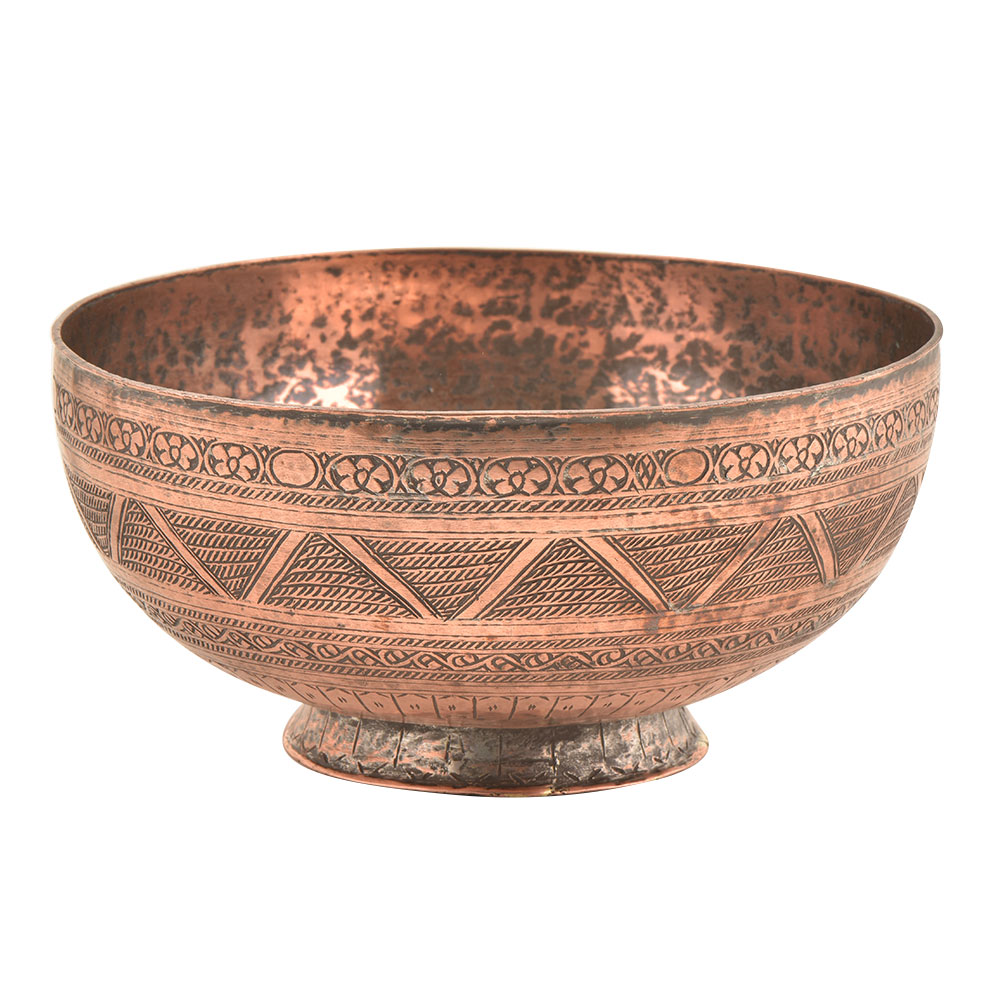 Hand Carved Multiple  Designs On Copper Bowl