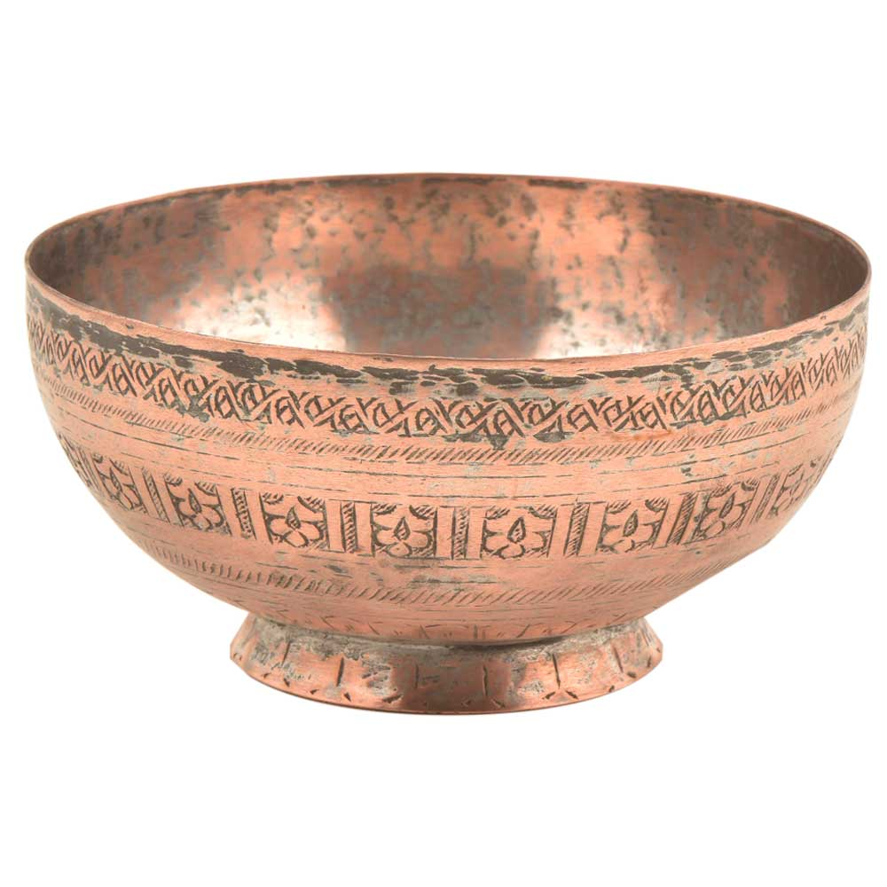 Hand Engraved Floral Borders Copper Bowl
