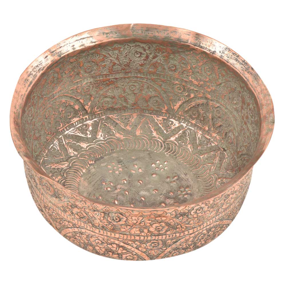 Engraved Floral Design Handmade Copper Bowl