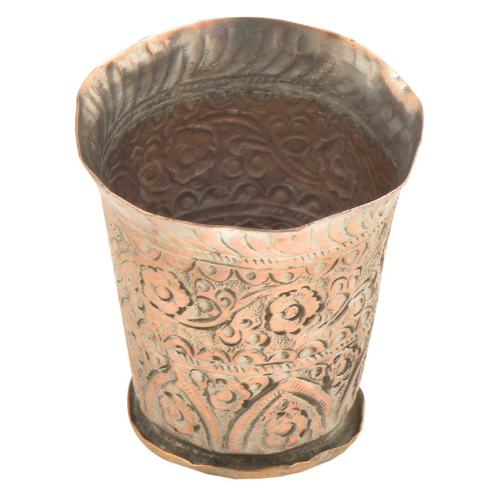 Vintage Rustic Copper Engraved Flower Design Lassi Glass