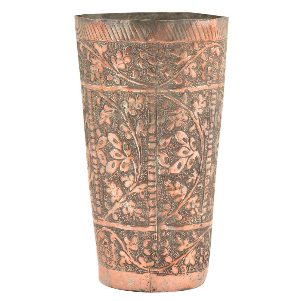 Engraved Handmade Copper Floral Design Glass