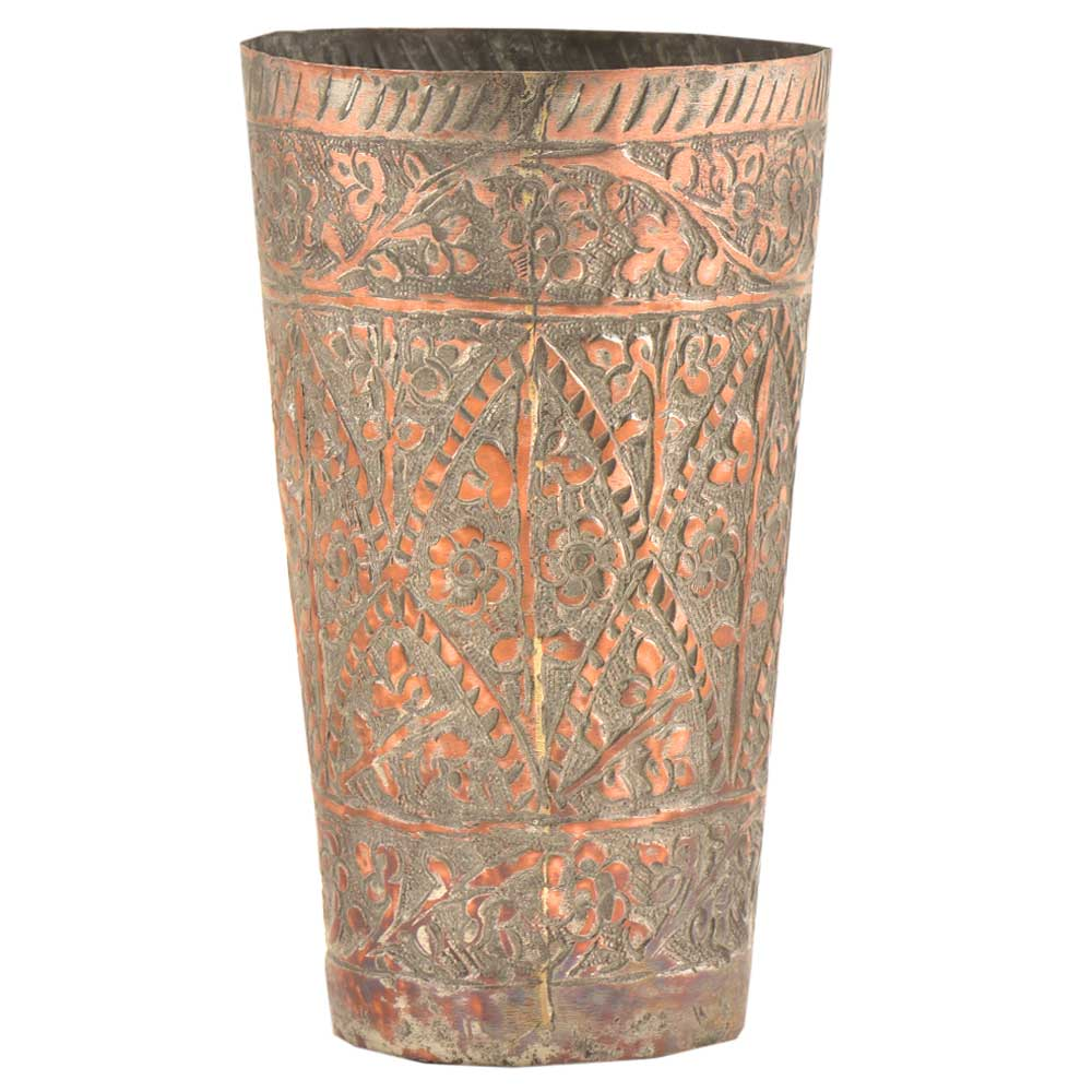 Handcrafted Mughal Style Floral Inlay Engraved Copper Glass