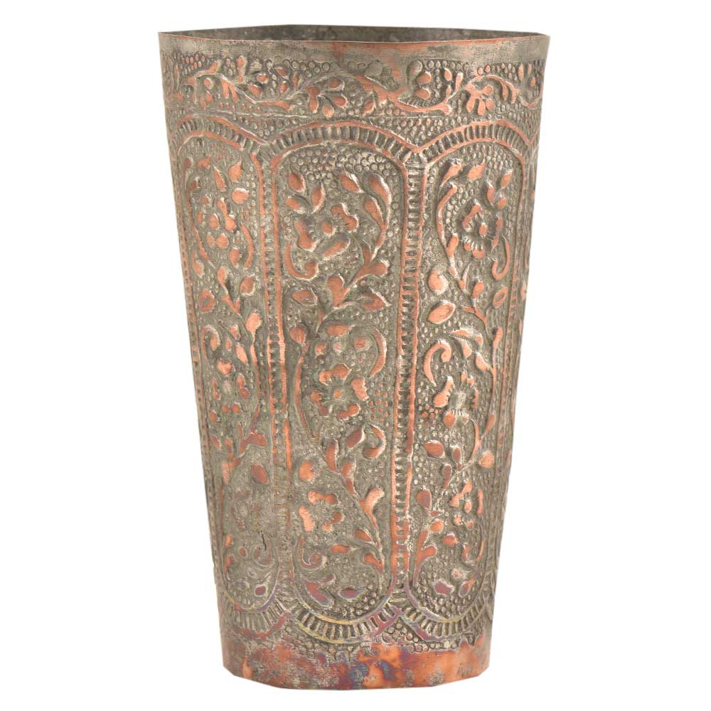Mughal Style Floral Inlay Engraved Copper Glass