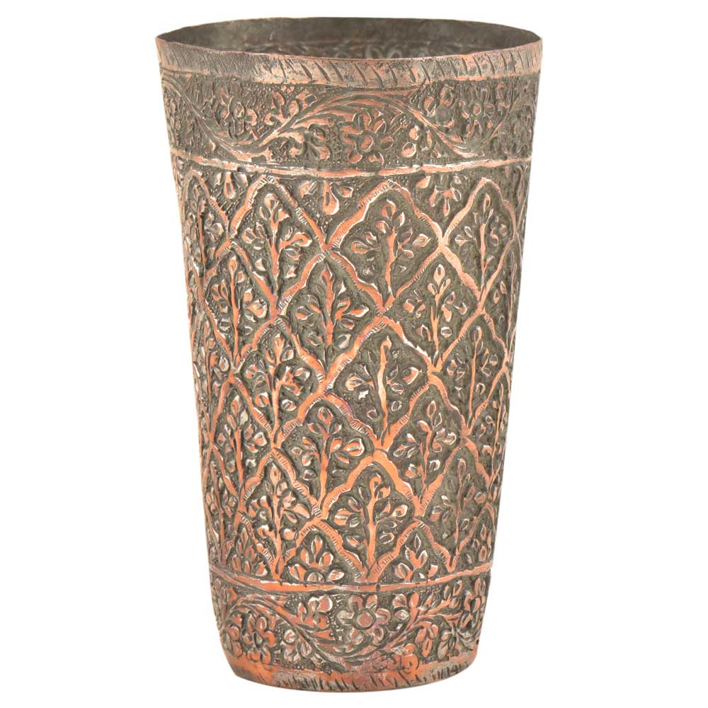 Engraved Phulkari Floral Design Copper Glass