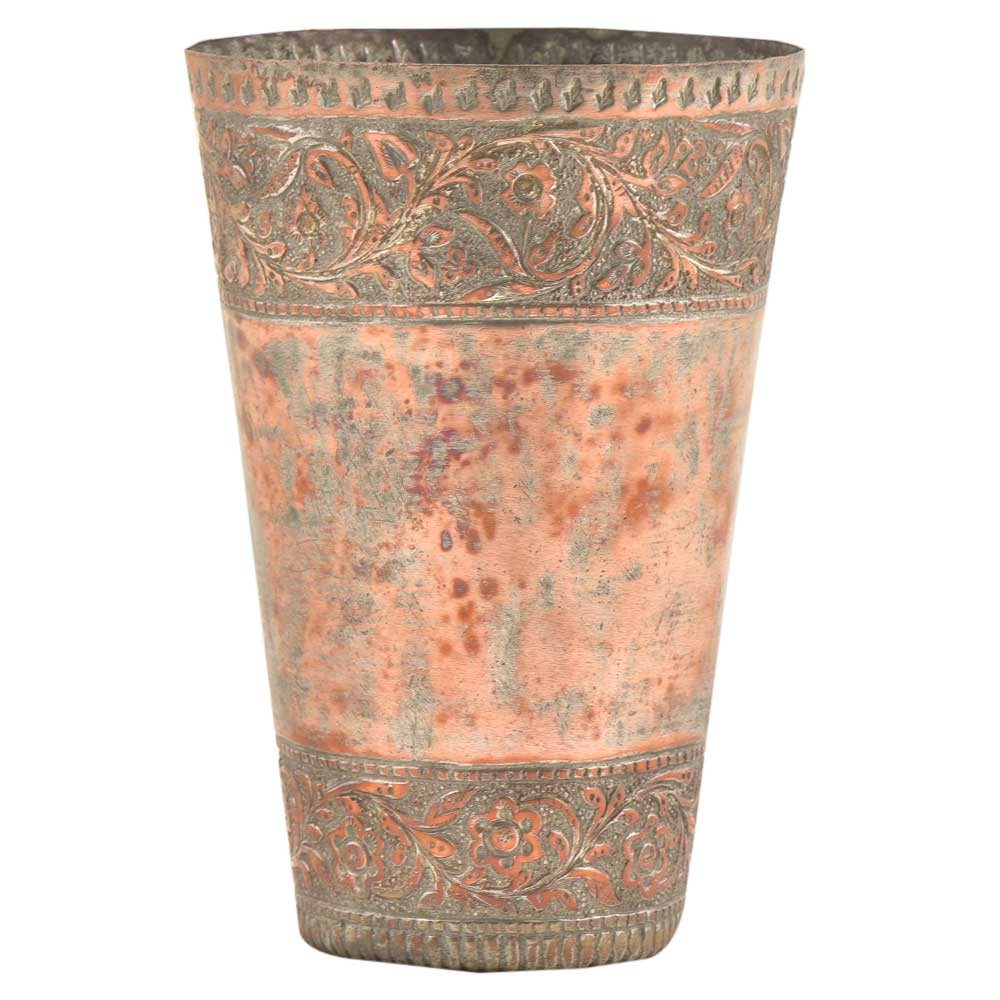 Engraved 2 Sided Floral Border Copper Lassi Glass