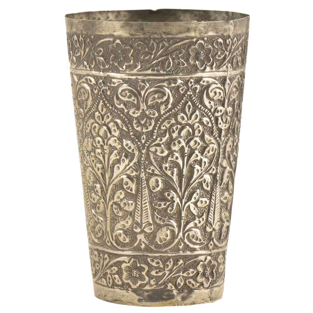 Engraved Deeply Carved White Metal Lassi Glass