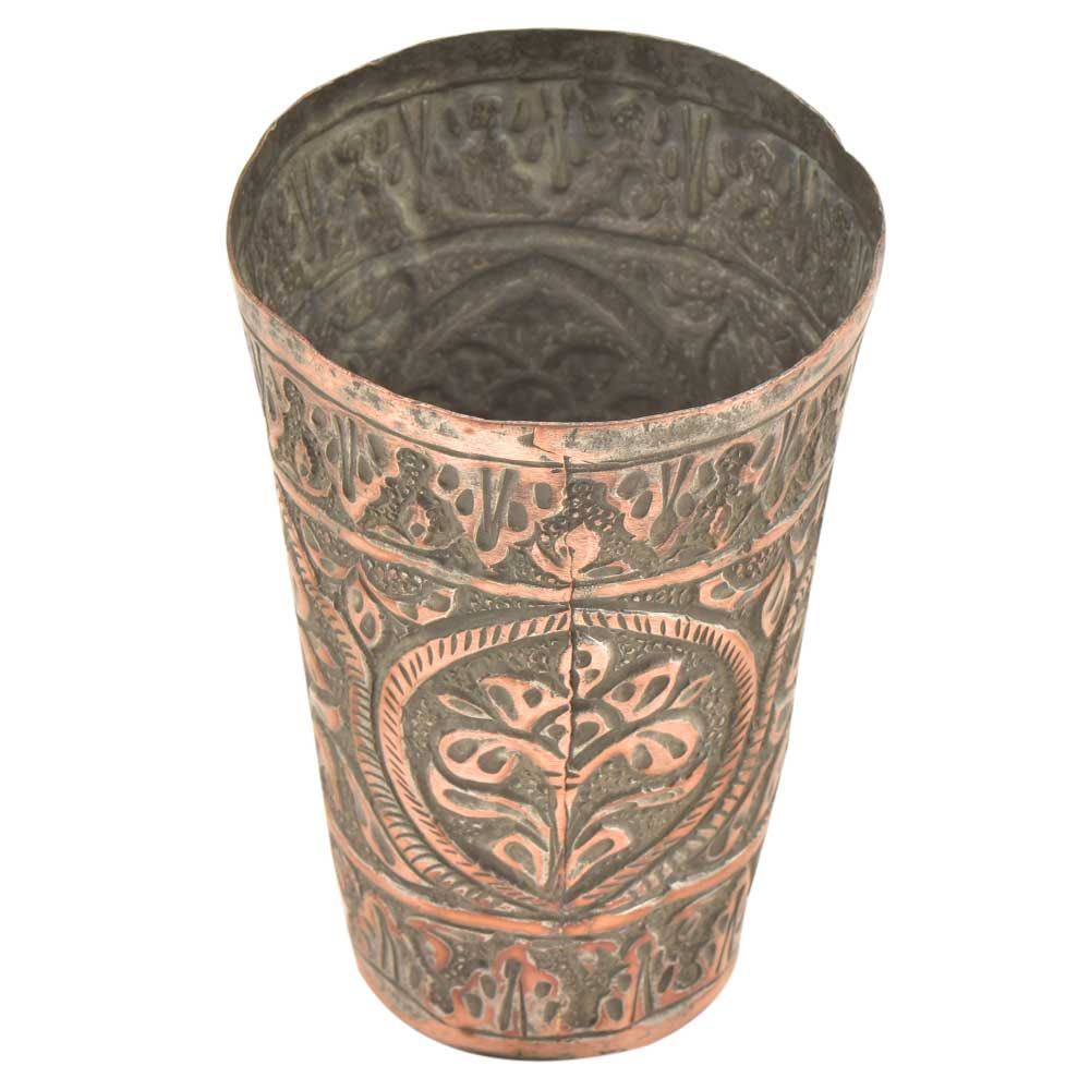 Hand Engraved Cental Flower Design Copper Glass