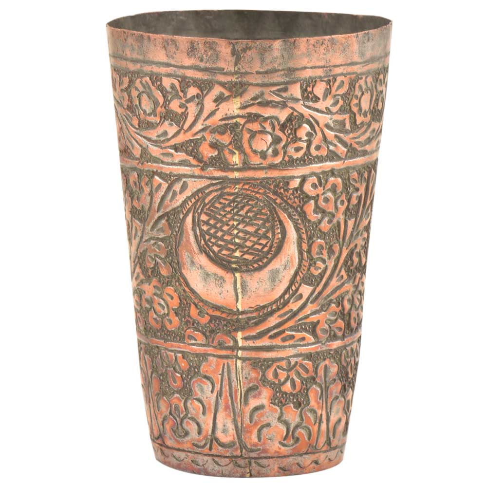 �Copper Finely Engraved Islamic Lassi Cup