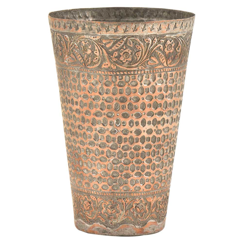 Engraved Bricks With Floral Border Copper Glass