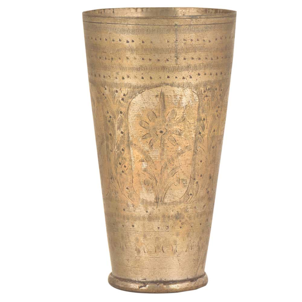 Old North India Brass Central Floral Lassi Glass Cup