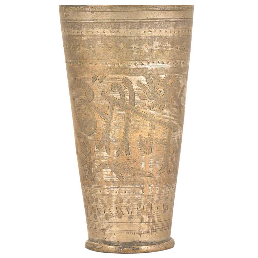 Om Engraved Floral Border Brass Punjabi Lassi Glass