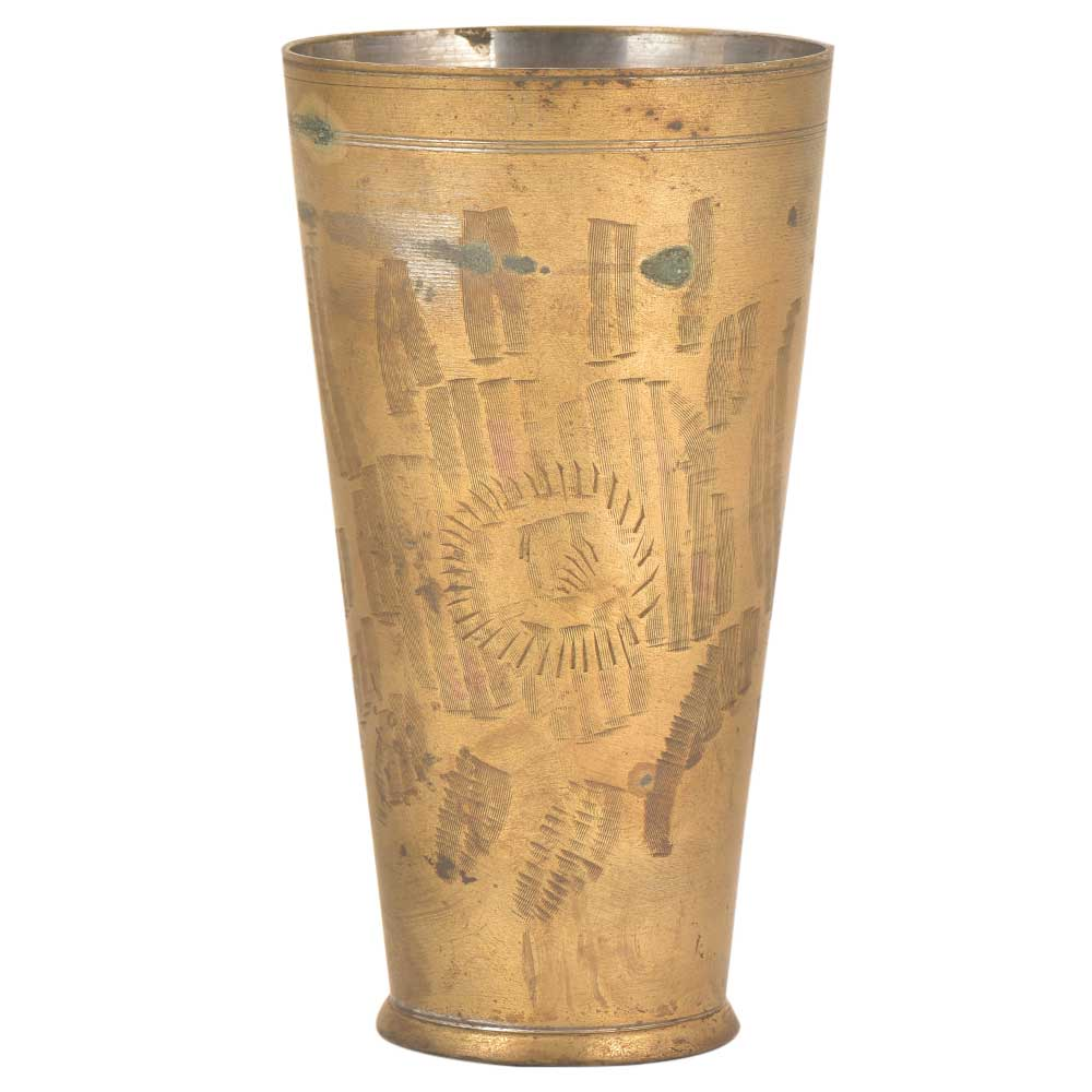 Big Flower Design Traditional Tall Brass Lassi Glass